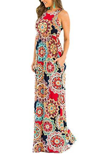 ECOWISH Damen Kleid Sommerkleid Ärmellos Rundhals Blumendruck Strandkleid Lässiges Maxikleid mit Taschen Rot S
