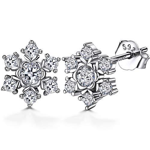 Lydreewam Damen Schneeflocke Ohrringe Ohrstecker 925 Sterling Silber mit 3A Zirkonia, Durchmesser 9mm