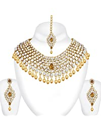 Spargz Gold Plated Bollywood Brown Kundan Pearl Choker Bridal Madhuri Dixit Necklace Set For Women AINS_256