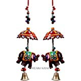 DreamKraft HandCrafted Set Of 2 Elephant With Umbrella Wall Hanging For Main Door/Living Room Home Decor (48 CM) - 1 Pair