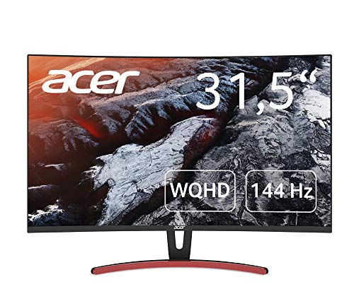Acer ED323QURAbidp 80 cm (31,5 Zoll) Multimedia Curved Monitor (WQHD, 2.560 x 1.440, 144hz, 4ms Reaktionszeit, ZeroFrame, DVI, HDMI, Display Port, Audio Out) schwarz