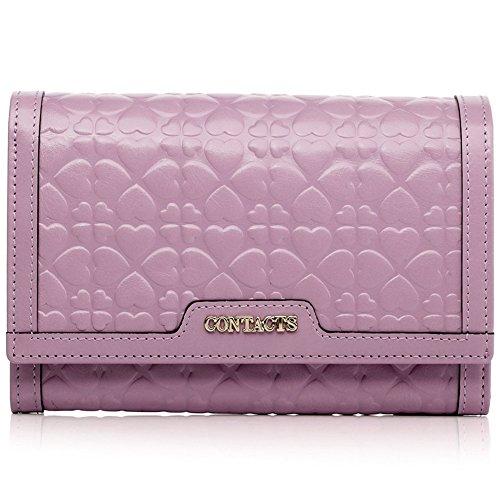 FLYSXP Damen Geldbörse Kurze Geldbörse Mode Lässig Kupplung Geprägt Münze Geldbörse, 15x10x3.5cm Damenbrieftasche (Color : Pink) (Geldbörse Geprägt)