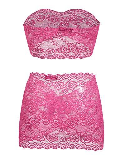 Avidlove Damen Spitze BH Set Dessous Set Schulterfreies BH und Minirock Unterwäsche Lingerie Reizwäsche Rosa