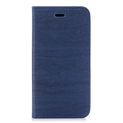 Per iPhone 8 / iPhone 7 Cover , YIGA Tree texture grigio Retro Modello Design Con Book style Internamente Silicone TPU Cover Flip Funzionalità di Supporto cuoio Case in Premium pelle Protettiva Flip C sw-blue