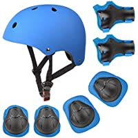 Kids Protective Gear, Kid's Skateboard Helmet Set, Knee Pads Elbow Pads Wrist Guards and Adjustable Helmet Use for Scooter Cycling Roller Skating, 7 pcs/Set