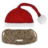 Bonnet de Fête hiver Chapeau avec barbe Chapeau Nain Bonnet tricoté Chapeau Déguisement Rouge de Noël Père Noël pour Adulte