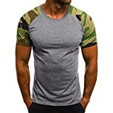 KUDICO Herren Tops T-Shirt Mode Freizeit Patchwork Bluse Slim Camouflage Printed Kurzarm Shirt(Grau, Medium)