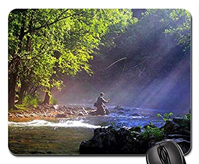 Fly Fishing in a River Mouse Pad, Mousepad (Rivers Mouse Pad) from Sdltkhy