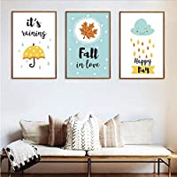 FBHQ2 Cartoon umbrella rain canvas wall art painting poster living room home decoration baby room children room painting