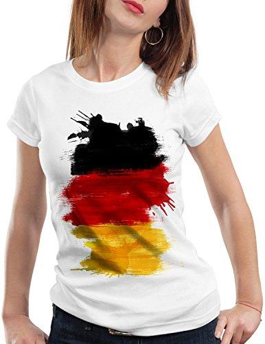 CottonCloud Flagge Deutschland Damen T-Shirt Fußball Sport Germany WM EM Fahne, Farbe:Weiß, Größe:S