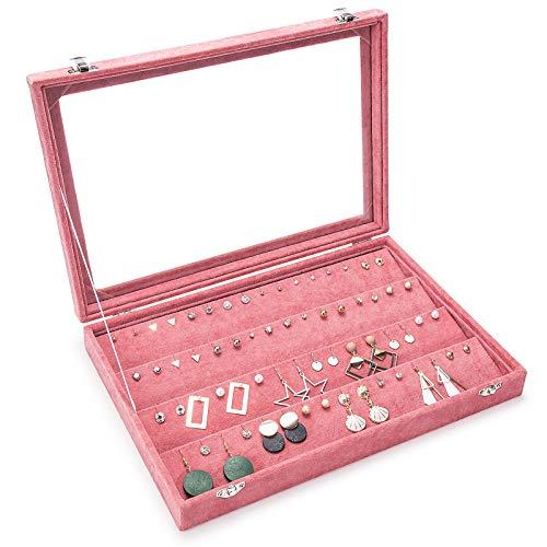 Basuwell Damen-Schmuckkasten Schmucklade Ringbox Schmuckkästchen für Halskette, Armband, Ringe und Ohrringe Rosa (Ohrring-Box)