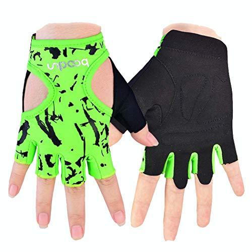 MISS&YG Fitness-Handschuhe Rutschfeste Yoga-Handschuhe im Freien Sport-Handschuhe atmungsaktive halbe Fingerhandschuhe,silvergreen,M/L
