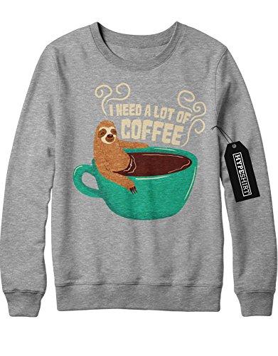 Sweatshirt I Need A Lot Of Coffee Sloth Faultier Funny Hipster Morgen Muffel Kaffee Esspresso Latte Macchiato H970009 Grau (Kostüm Grumpy Cat)