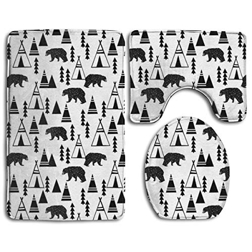 Pillowcase Wholesale Teepee Forest Tipi Forest Kids Black And White Nursery Cute Baby Nursery Fabrics Fabric Design Bath rug Sets 3 Piece for Bathroom Non Slip Bath Mat Washable Absorbency