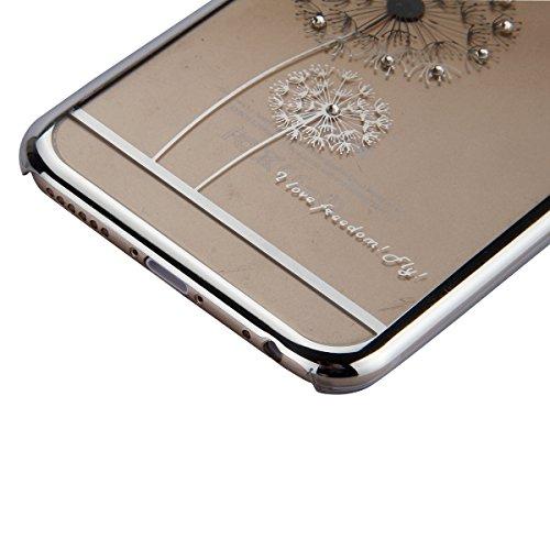 Etsue Transparente Kunststoff Schutzhülle für iPhone 6S/iPhone 6, Glänzend Glitzer Sparkle Strass Diamant Crystal Hard Case Schutz Hülle Slim Bumper Hard Cover Tasche Kristall Glitter Shinning Back Co Bling,Löwenzahn,Silver