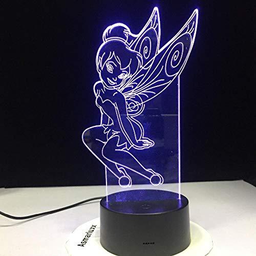 Dwqerwre 3D Nachtlichtneue Karikatur-Nette Elf-Bastel-Bell-Fräulein Bell 7 Farben Ändernledreizendes Mädchen-Kinderschreibtisch-Lampen-Geburtstag