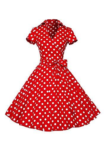 Minetom Donna Estate Vantage 1950's Cocktail Partito Swing Abito Con Bowknot Cintura Retro Profondo Scollo a V Manica Corta Polka Dot Vestiti Rosso Polka Dot