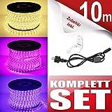 10m 360 LED Lichterschlauch Lichtschlauch Schlauch Steckerfertig inkl. Wandhalterungen - Innen & Außenbereich - Warmweiß