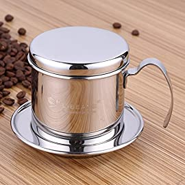 Coffee Percolator, Stainless Steel Vietnamese Coffee Maker Pot Coffee Drip Filters, Single Cup Coffee Drip Pot Brewer…