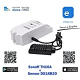 Sonoff Th16 + Sensor AM2301A WiFi Romote Smart Switch Wireless, Waterproof Temperature Monitoring and Triggering, DIY Smart Home (Work Amazo Home Assistant Nest IFTTT MQTT) Android and iOS App