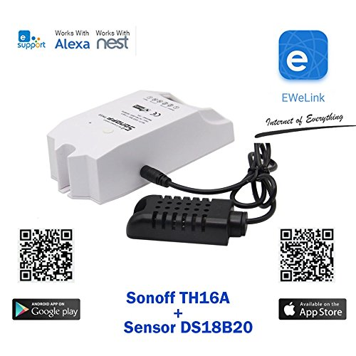 Sonoff Th16 + Sensor AM2301A WiFi Romote Smart Switch Wireless, Waterproof  Temperature Monitoring and Triggering, DIY Smart Home (Work Amazo Home