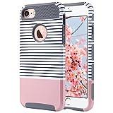 ULAK iPhone 7 Hülle, [Bunte Serie] Slim Hybrid Dual Layer [Kratzfest] Hard Back Cover [Shock Absorbent] TPU Stoäfänger Fall für iPhone 7 [4,7 Zoll] (Roségold Streifen + Grau)