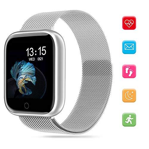 Bluetooth Smart Watch - Fitness Tracker Smartwatch con Calorie Distanza Frequenza Cardiaca Pressione Sanguigna Sonno Monitoraggio Chiamate Notifica via SMS per Android iOS (Argento)