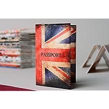 Funda para pasaporte de cuero con estampado original hecha a mano
