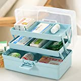 Teckpeak medicine chest medicine box first aid first aid kit multi-layer medication organiser, polypropylene, blue, blue