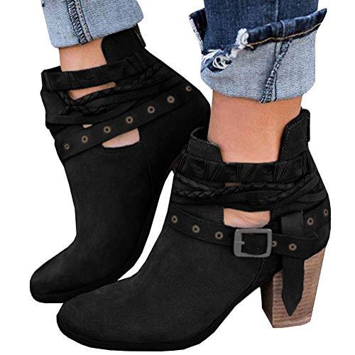Minetom Stivali Donna Invernali Autunno con Tacco Boots Stivaletti Stivali  Moda Elegante Sexy Tacchi Alti Casual a8cd3c0c69d