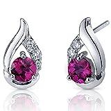 Revoni Damen-Ohrringe 925 Sterlingsilber Cubic Zirkonia Diamant und Rubin rot-1.50 Karat