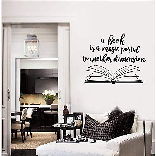 yiyiyaya Offenes Buch Zitat Vinyl Wandtattoo Bibliothek Wohnkultur Kunst Aufkleber Wandbild Wandaufkleber für Kinderzimmer Einzigartiges Geschenk 53 * 42 cm