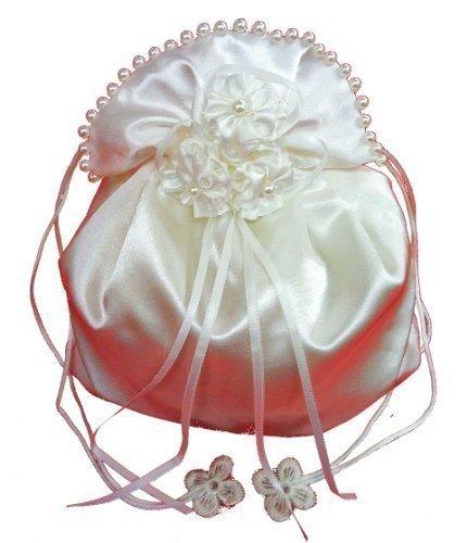 Ladymyp © Borsa Da Sposa, Borsa Da Sposa Con Fiori Di Raso E Perle, Bianco / Avorio (crema Chiara, Avorio), Matrimonio, Comunione, Circa 20 * 22 Cm Avorio (crema Leggera)