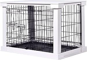 dobar 35241Grande Cage en Bois avec Surface de Table pour intérieur, Chien Box Indoor, M, Blanc