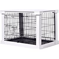 dobar 35241 Large Wooden Crate with Top Table Indoor Dog Crate Indoor - M White