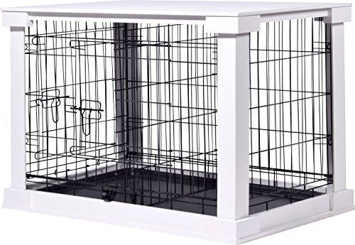dobar 35241 Großer Hundekäfig aus Holz mit Tischoberfläche für innen, Hundebox Indoor, M, weiß (Hundebox Aus Holz)
