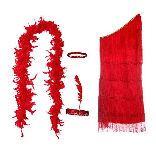 D DOLITY Vinatge Gatsby Kostüm Set Charleston Kostüm Kit mit Fransenkleid Feder Haarband Nackenband und Boa Schal, Rot - XXL