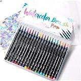 Aquarell-Pinselstifte Set mit 20 hochwertigen Farben, echte Pinselspitzen, tragbar, keine Unordnung, Aufbewahrung, waschbar, ungiftige Marker