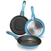 Pack de 3 sartenes con revestimiento cerámico ecológico de piedra. 5 mm de grosor. Aptas para todas las cocinas, incluidas las de inducción. Tasty Cook Series de Cecotec. (Azul)
