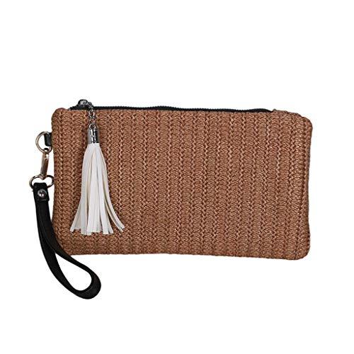 Mitlfuny handbemalte Ledertasche, Schultertasche, Geschenk, Handgefertigte Tasche,Mode-Dame Trend Woven Tassel Portable Zipper Clutch Bag Handytasche -