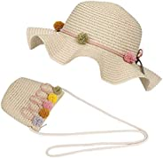 FT-SHOP Sombrero de Paja Niñas Gorra de Sol Chica y Bolsillo Set con Decoracion de Flores Gorro de Playa para