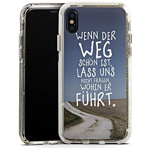 Apple iPhone 8 Bumper Hülle Bumper Case Glitzer Hülle Phrases Sayings Sprüche Bumper Case Glitzer gold