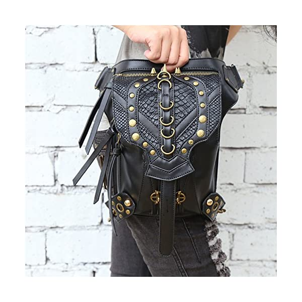 Steampunk Bag Steam Punk Retro Rock Gothic Goth Shoulder Waist Bags Packs Victorian Style for Women Men + Leg Thigh Holster Bag DM201605 100% Brand New and High Quality. Adjustable belt design for better fitting body Material : Leather ( PU Leather) Durable material and workmanship to withstand daily wear & tear. 8