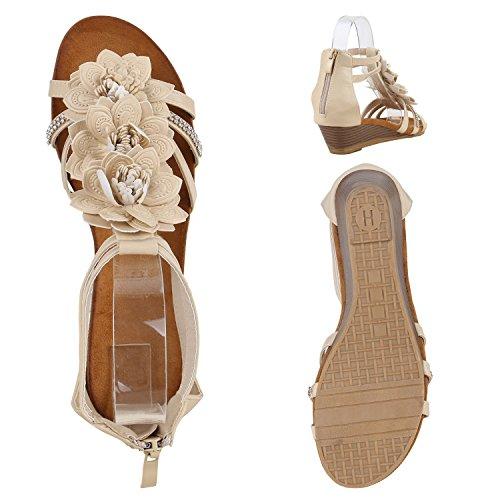 Bequeme Keilsandaletten Strass| Glitzer Sandaletten Wedges |Sommerschuhe Lack|Blumen Keilabsatz Sandalen Creme Glatt Blumen