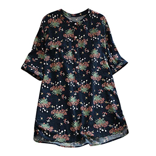 TOPSELD T Shirt Damen, Frauen BeiläUfig Plus GrößE Shell Los Shell Leinen HüLsen Druck Knopf Tanic Hemd Bluse
