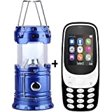 I KALL K3310 (Black) Dual Sim 1.8 Inch Display Mobile With Solar Powered LED Rechargeable Lantern With Three Way Power Option - Solar Power Or AABatteries Or AC Power(Blue)