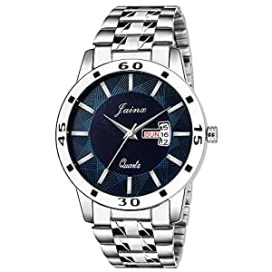 Jainx Silver Day and Date Analogue Watch for Men's & Boys - JM323