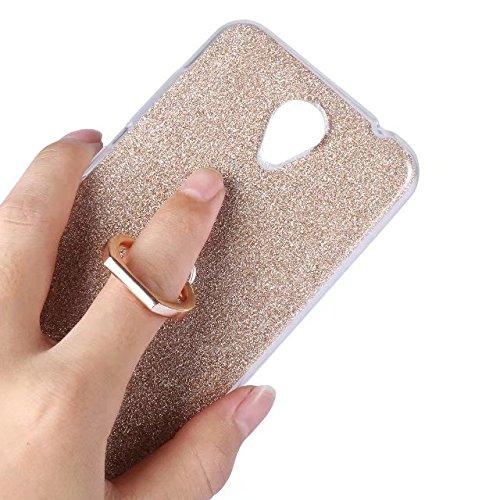 Luxus Bling Sparkle Style Case, Soft TPU [Silikon] Flexible Glitter Rückentasche mit Fingerring Stand für ZTE A520 ( Color : Blue ) Pink