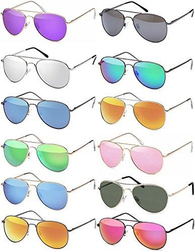 Premium Set, Pilotenbrille Verspiegelt Fliegerbrille Sonnenbrille Pornobrille Brille mit Federscharnier (70 | Rahmen Gold - Glas Dunkelgrün)