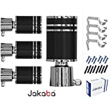 JAKABA Premium Quality Wenge Finish Stainless Steel and Alloy Curtain Finials with Heavy Supports - PACK of 8 Pcs. (Finials : 4 Pcs + Supports : 4 Pcs) : Curtain Brackets Set / Holders for Window / Door - JKB1082WG